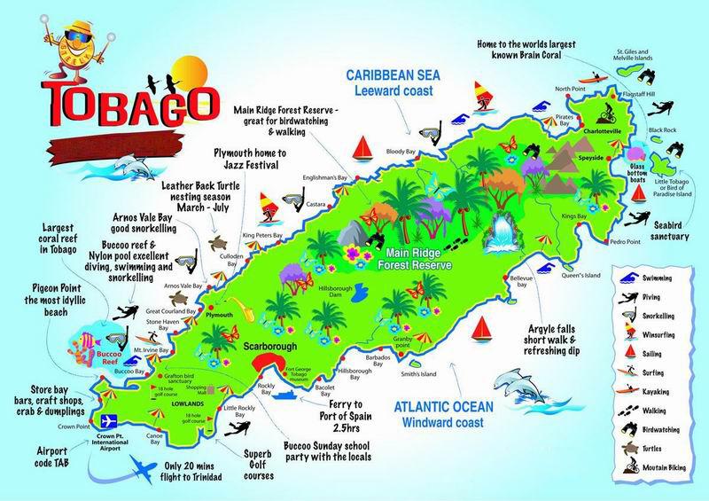 Large map of Tobago